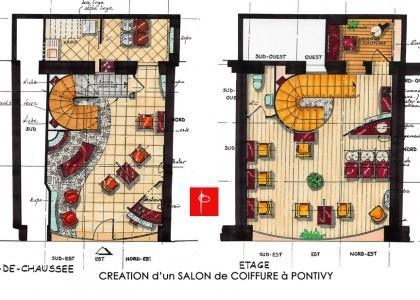 Plan Feng Shui d'un salon de coiffure à Pontivy