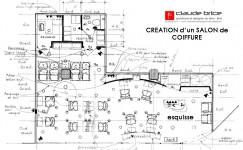 Plan Feng Shui d'un salon de coiffure centre Jaude à Clermont Ferrand