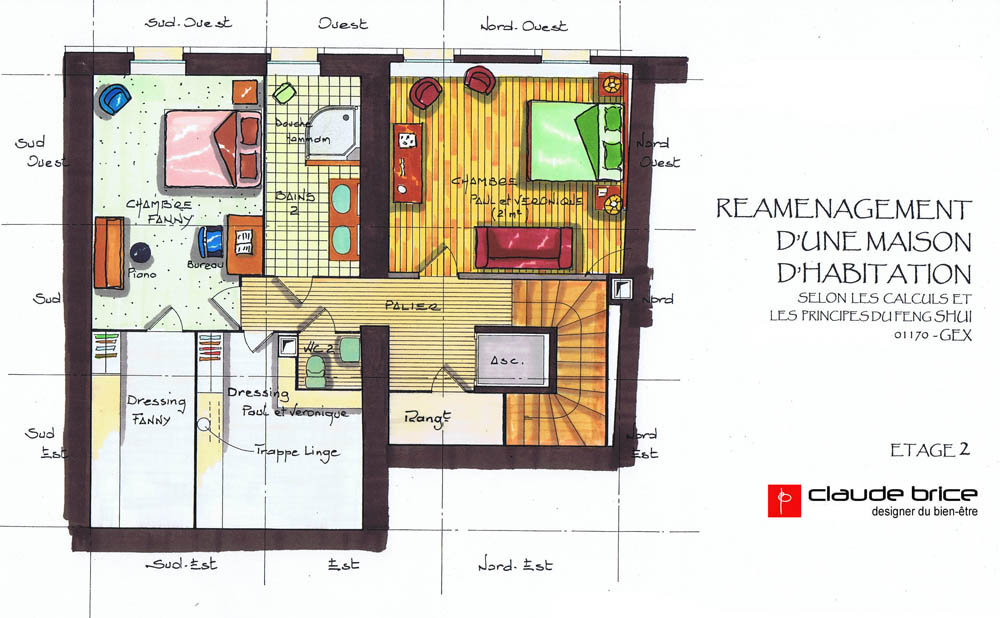 Plan amnagement maison plan plan design feng shui for Plan chambre feng shui