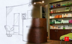 Mobilier Feng Shui d'un salon de coiffure centre Jaude à Clermont Ferrand