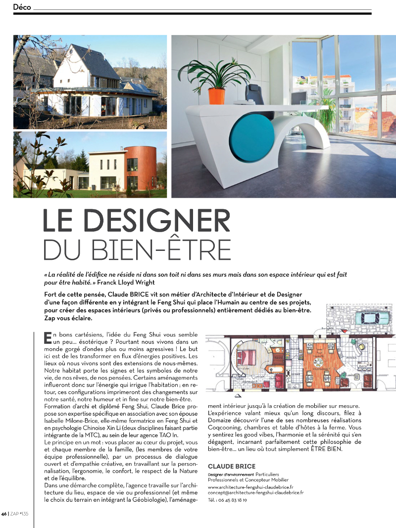 Article de ZAP - Architecture Feng Shui Claude BRICE
